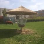 rieten parasol 400 cm met ruif