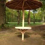 rieten parasol 220 cm met tafelblad