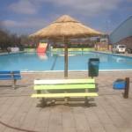 rieten parasol 220 cm bij zwembad