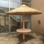 rieten parasol 280 cm met rond tafelblad