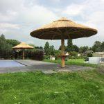grote parasol riet bij zwembad