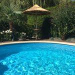 rieten parasol zwembad